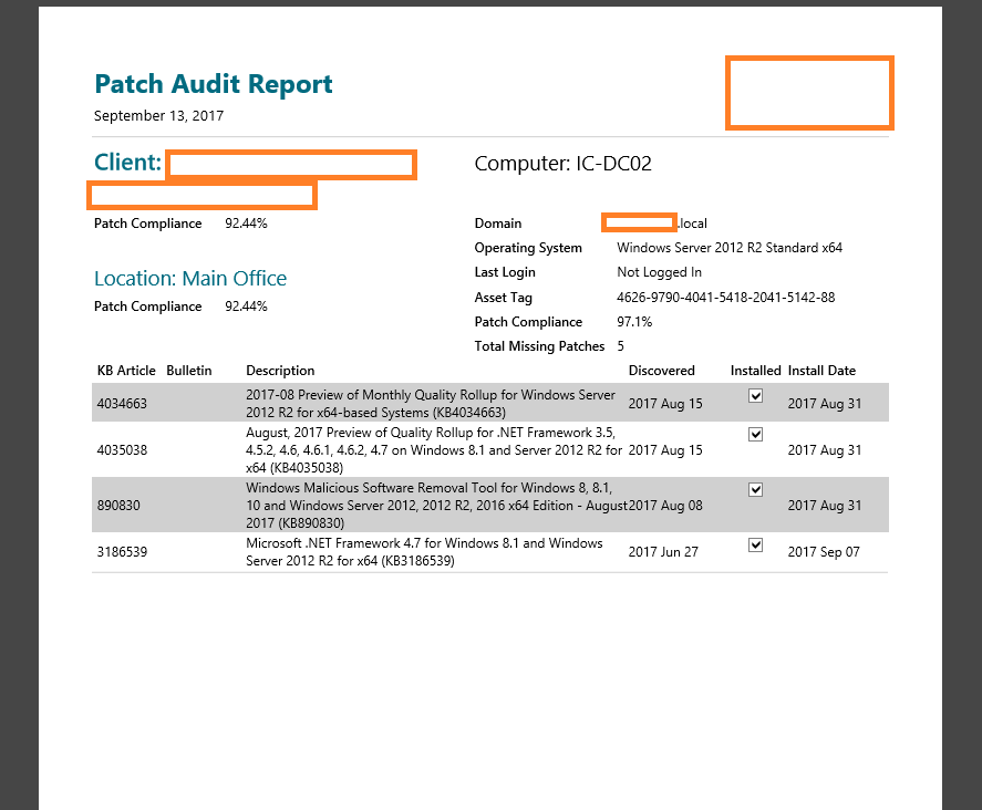 Free Report – Patches installed in the last 30 days on all agents
